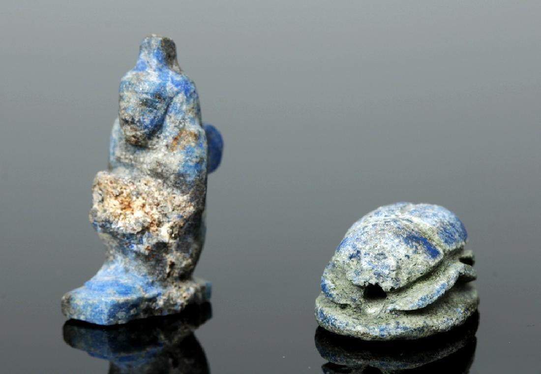 Rare Egyptian Lapis Lazuli Scarab + Kneeling Figure - 4