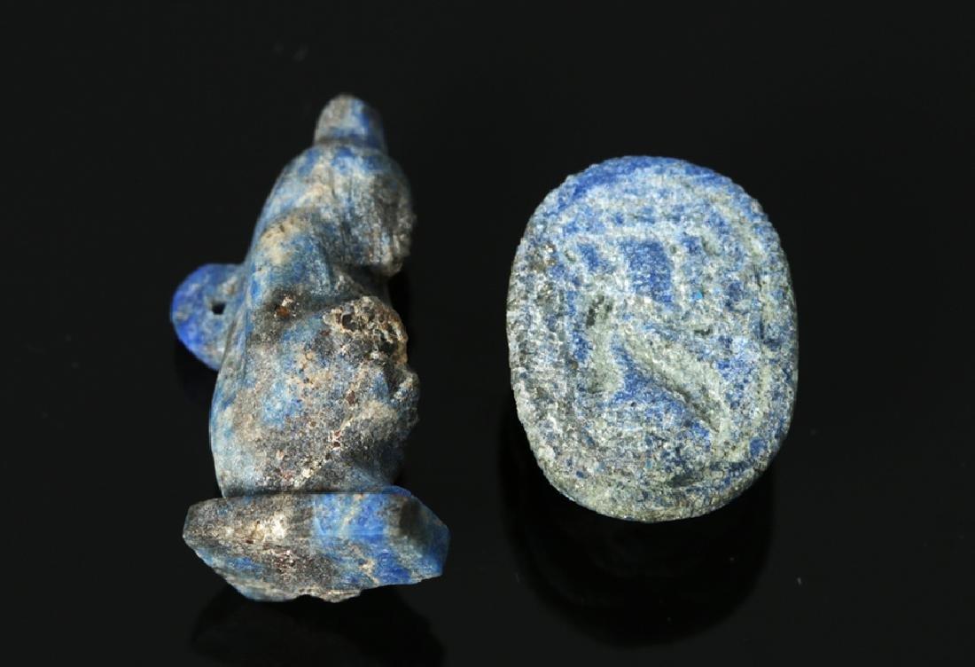 Rare Egyptian Lapis Lazuli Scarab + Kneeling Figure - 5