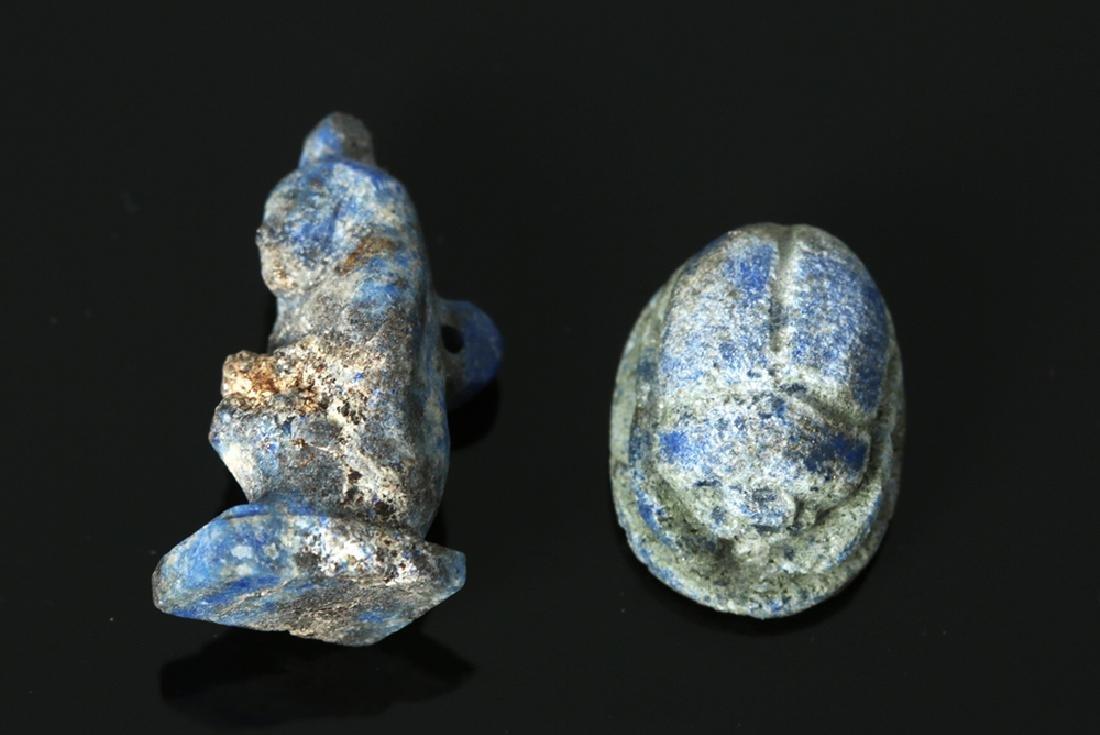 Rare Egyptian Lapis Lazuli Scarab + Kneeling Figure - 6