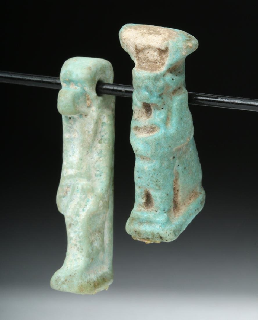 Pair of Egyptian Faience Amulets - Thoth & Isis