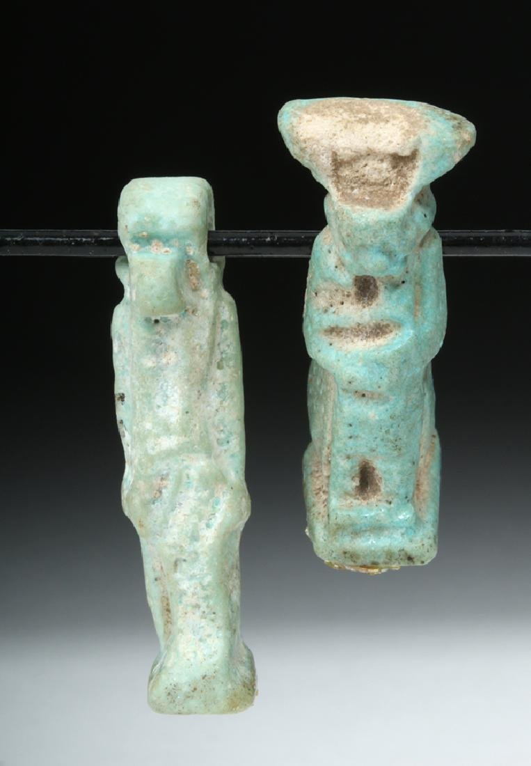 Pair of Egyptian Faience Amulets - Thoth & Isis - 2
