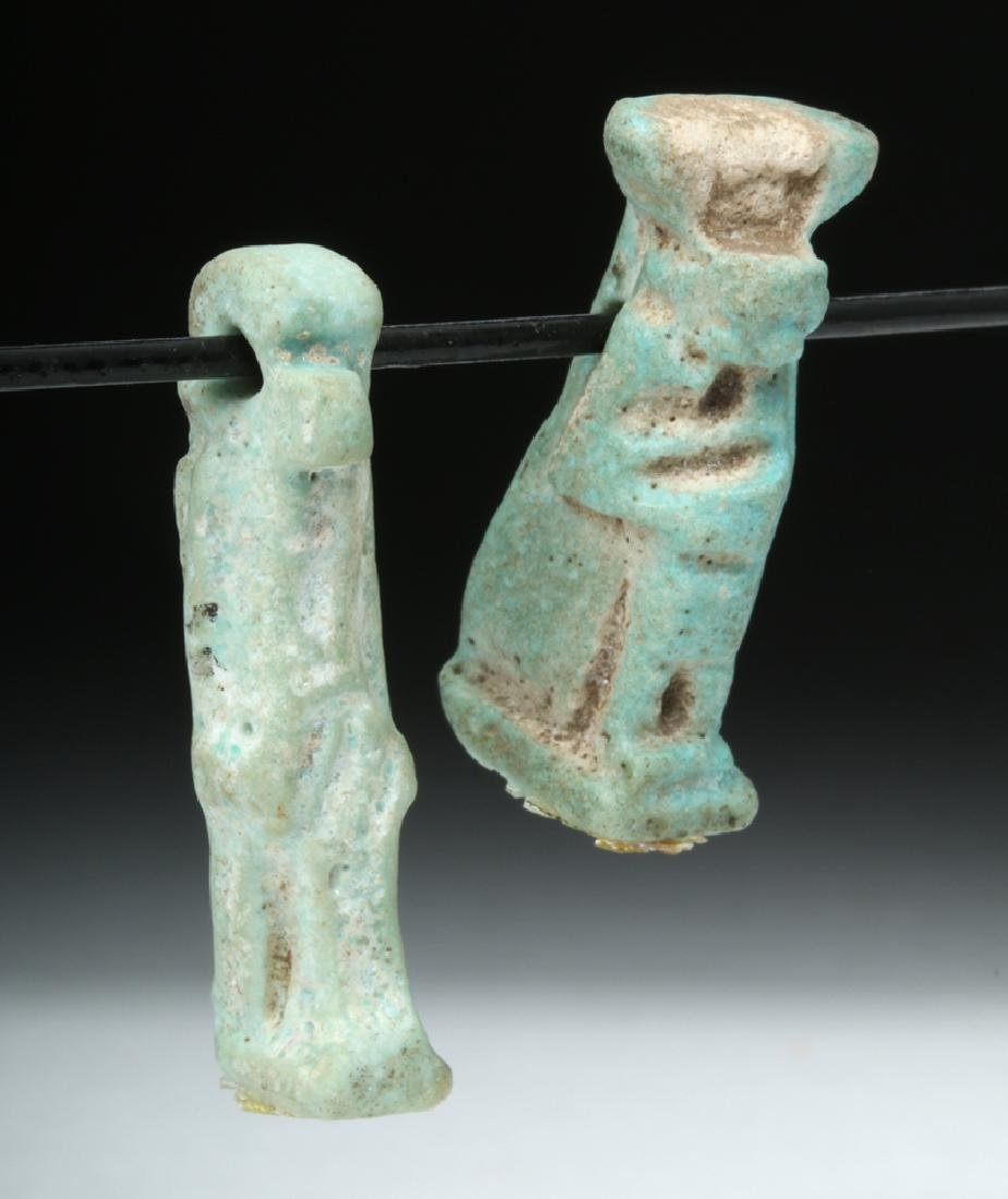 Pair of Egyptian Faience Amulets - Thoth & Isis - 3