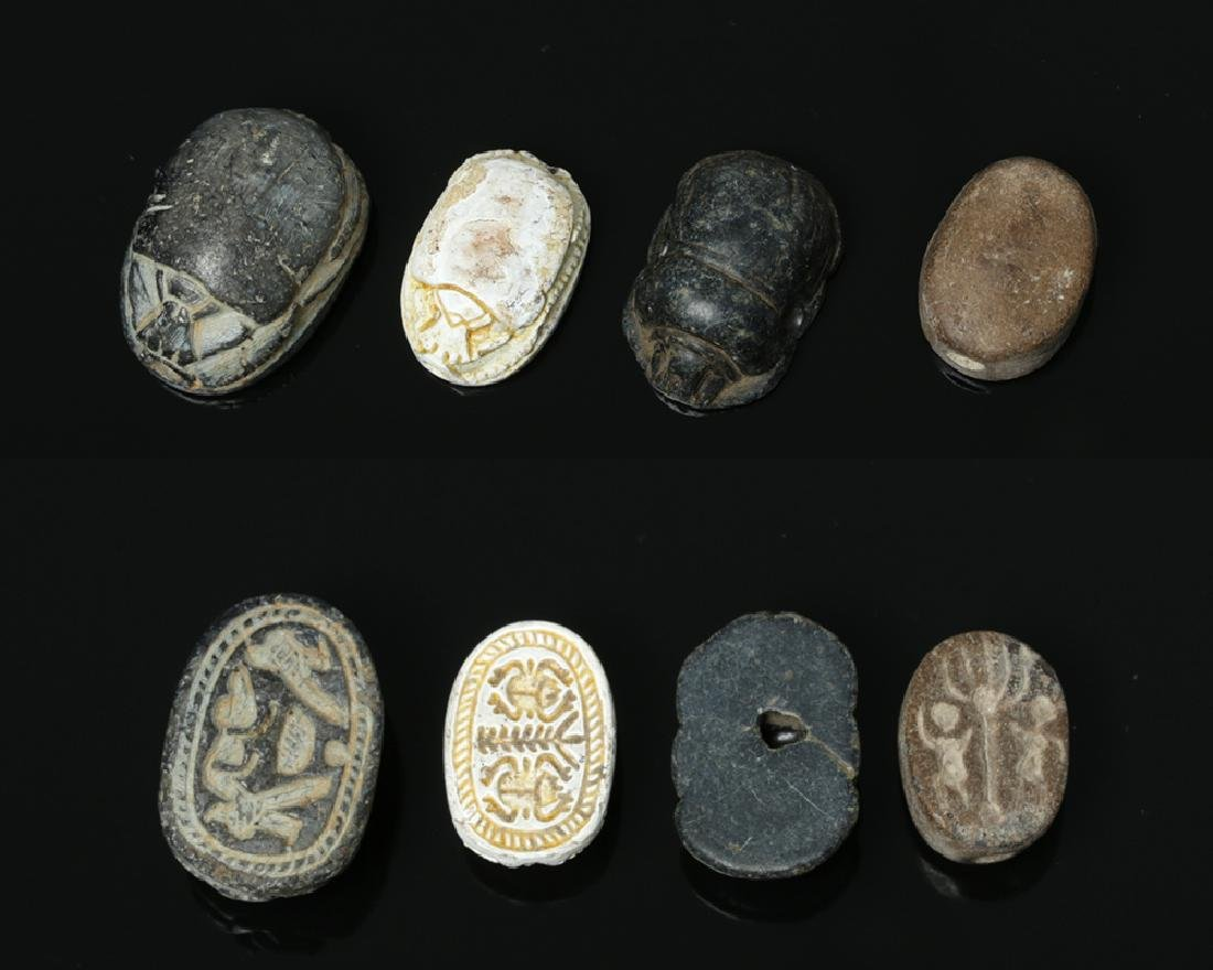 3 Egyptian Steatite Scarabs + 1 Pottery Scarab