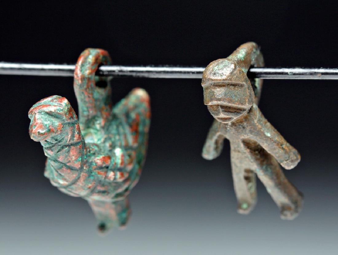 Lot of 2 Roman Bronze Amulets - Bird + Human Figure
