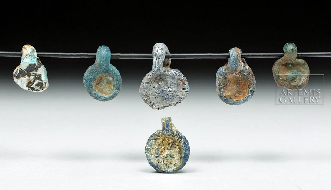 Lot of 6 Ancient Roman Glass Pendants - Iridescent