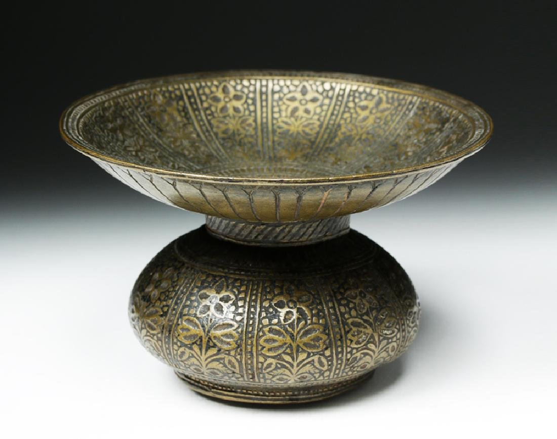 18th C. Indian Mughal Bronze Betel Nut Spittoon - 5