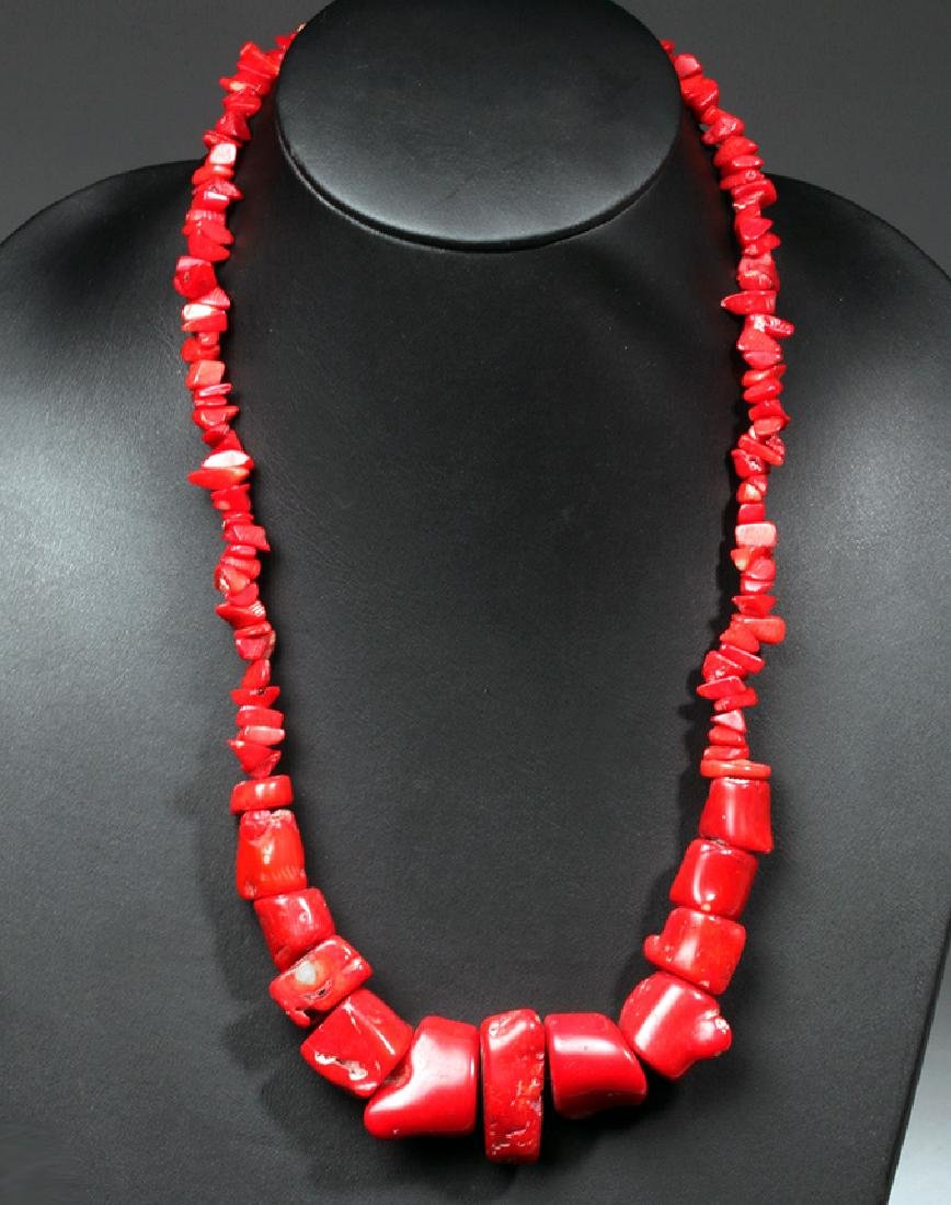 Stunning 20th C. Tibetan Red Coral Necklace