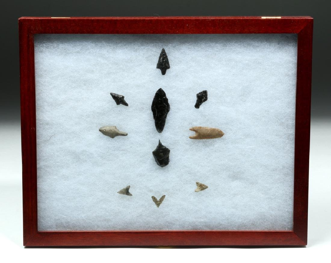 Framed Collection of Jomon Japanese Stone Points