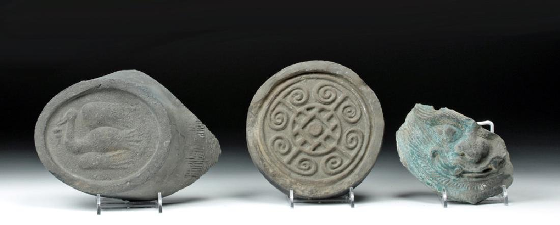 Trio of Chinese Ming Dynasty Ceramic Roof Tile Sections