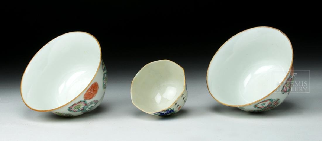 Trio of 19th C. Chinese Floral Porcelain Cups - 6