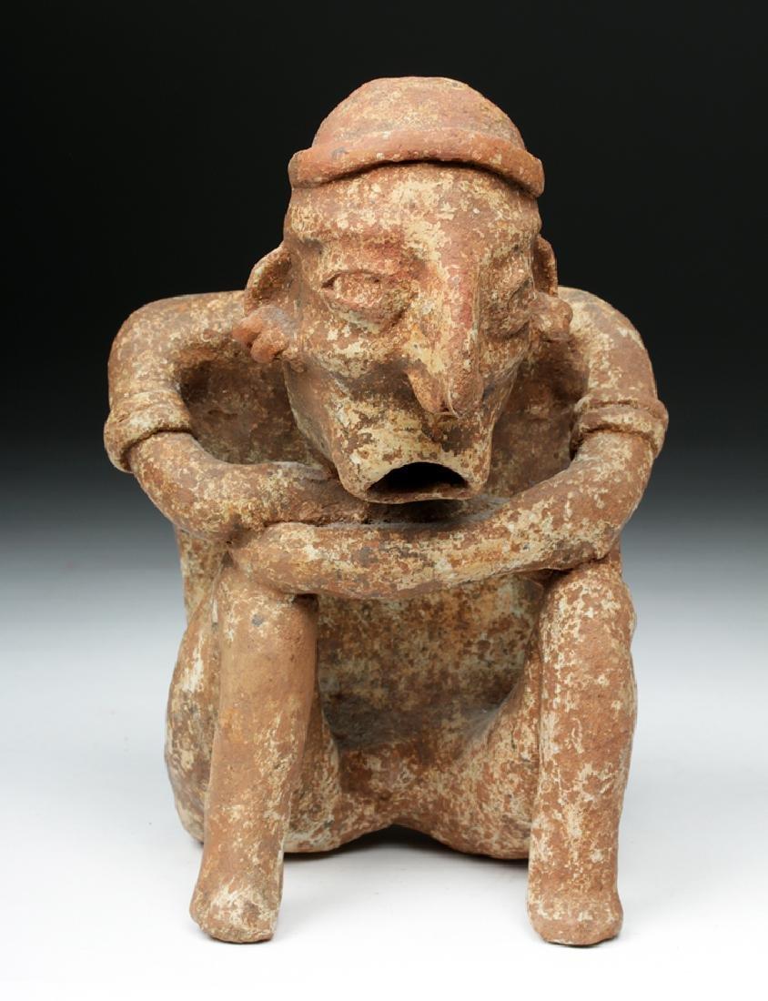 Nayarit Pottery Crouching Seated Male - 2
