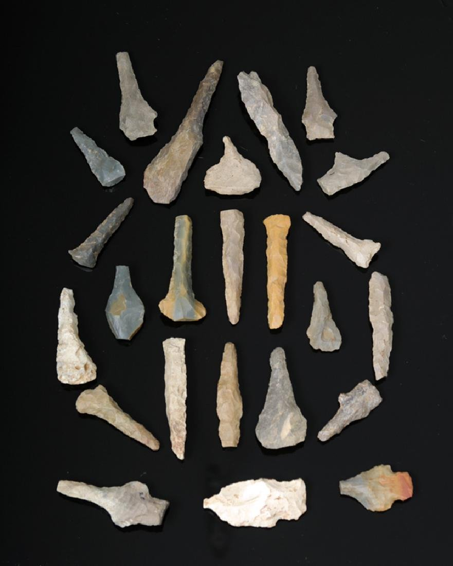 Collection of 24 Native American Stone Awls & Points