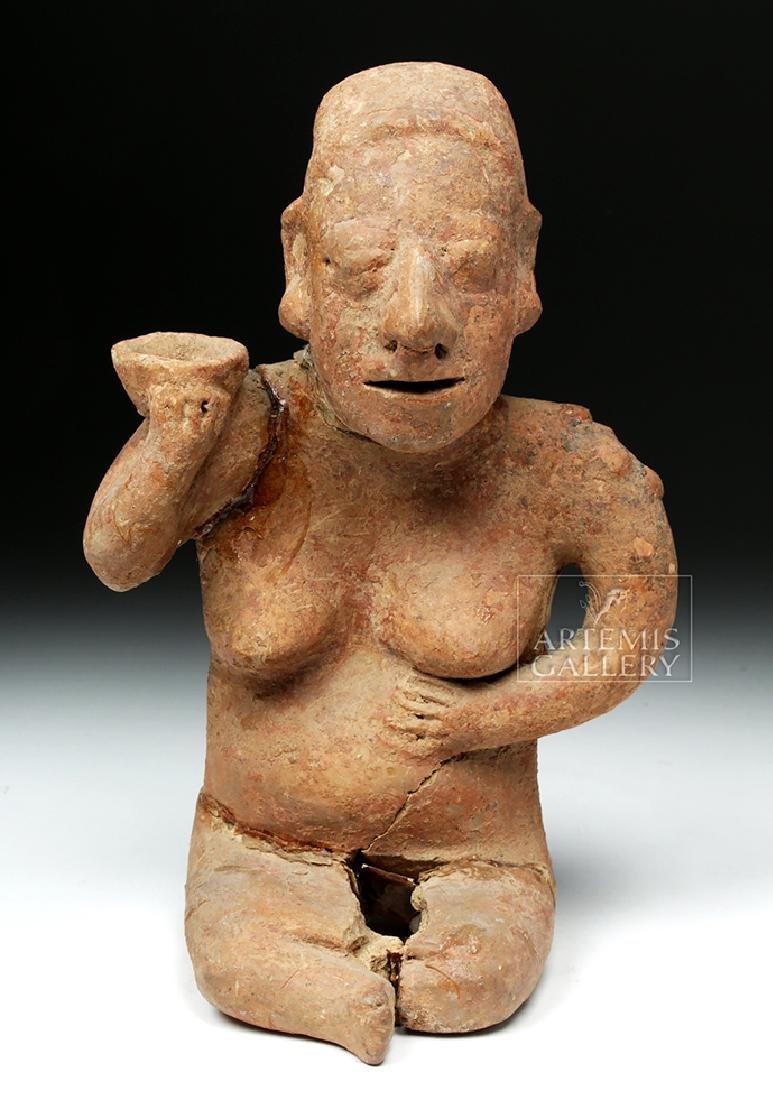 Jalisco Pottery Seated Female Figure w/ Bowl