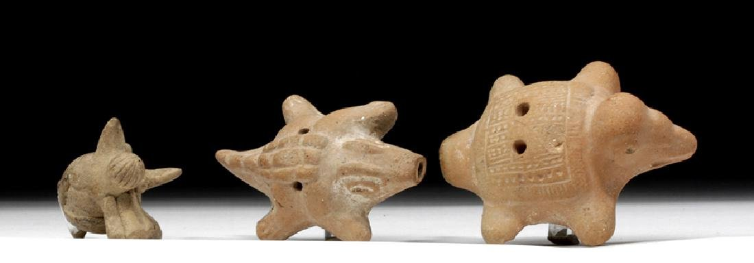 Trio of Colima Pottery Whistles, Delightful Animals!