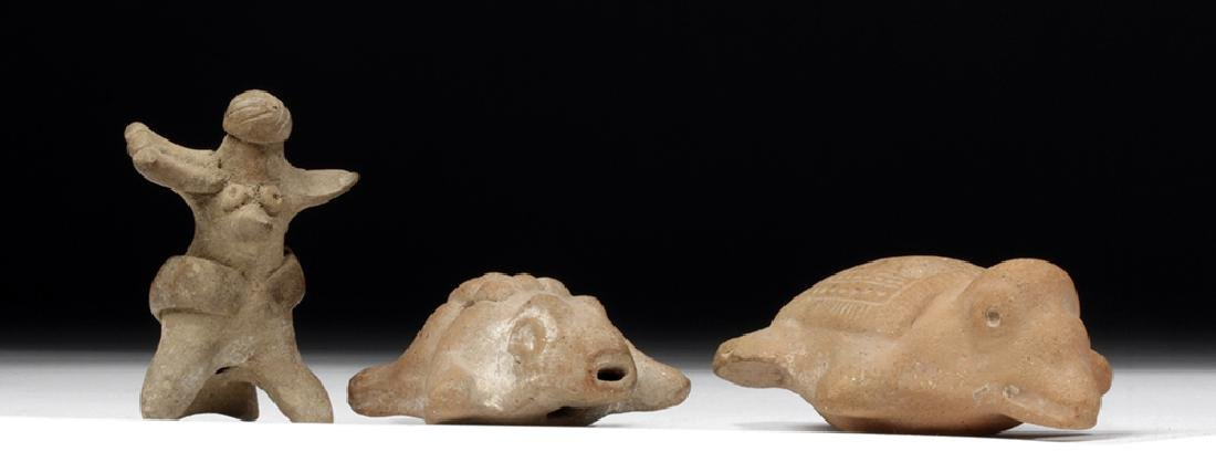 Trio of Colima Pottery Whistles, Delightful Animals! - 4
