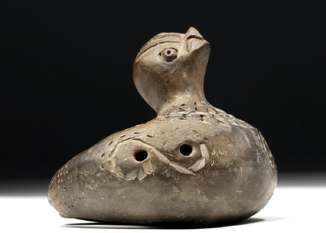 Adorable Tairona Pottery Ocarina - Bird Form