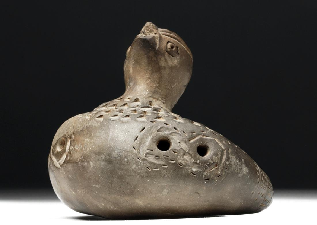 Adorable Tairona Pottery Ocarina - Bird Form - 2