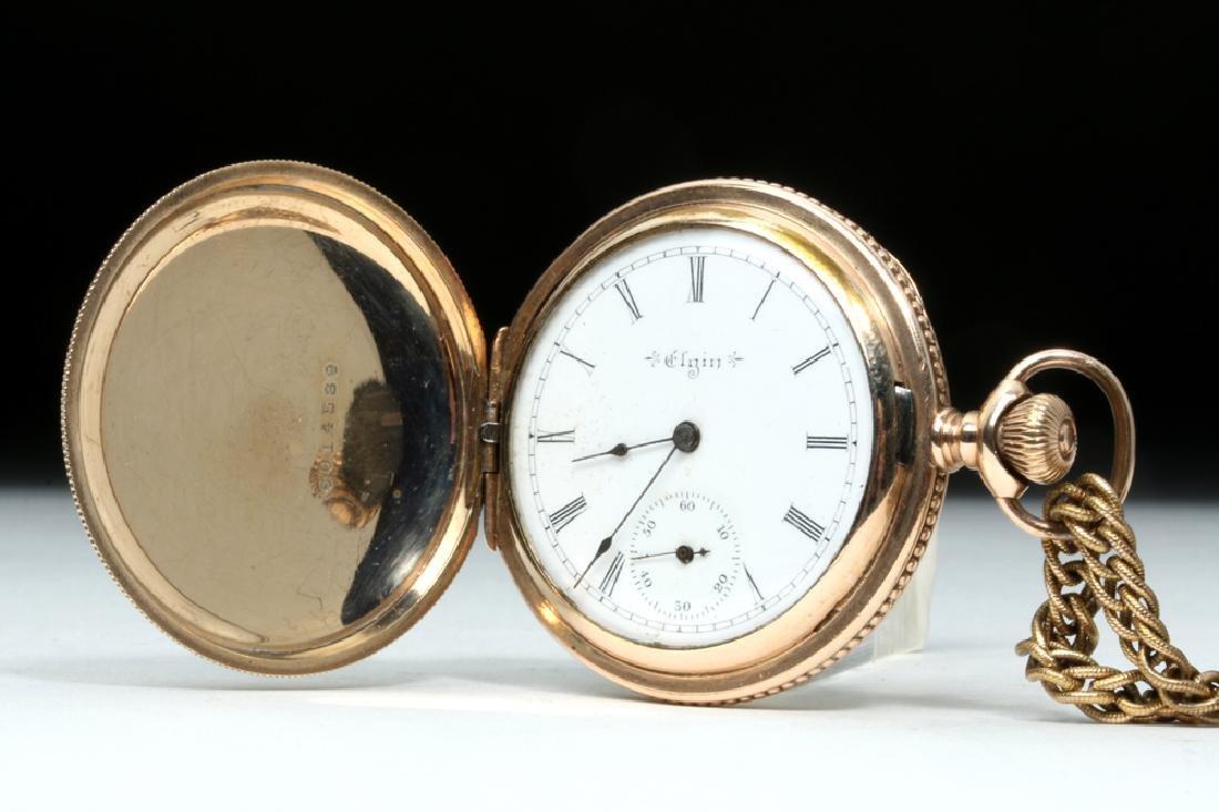 19th C. USA Elgin 10K Gold Pocket Watch w/ Fob
