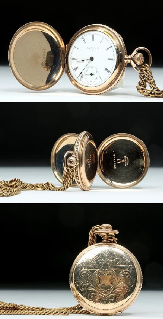 19th C. USA Elgin 10K Gold Pocket Watch w/ Fob - 2