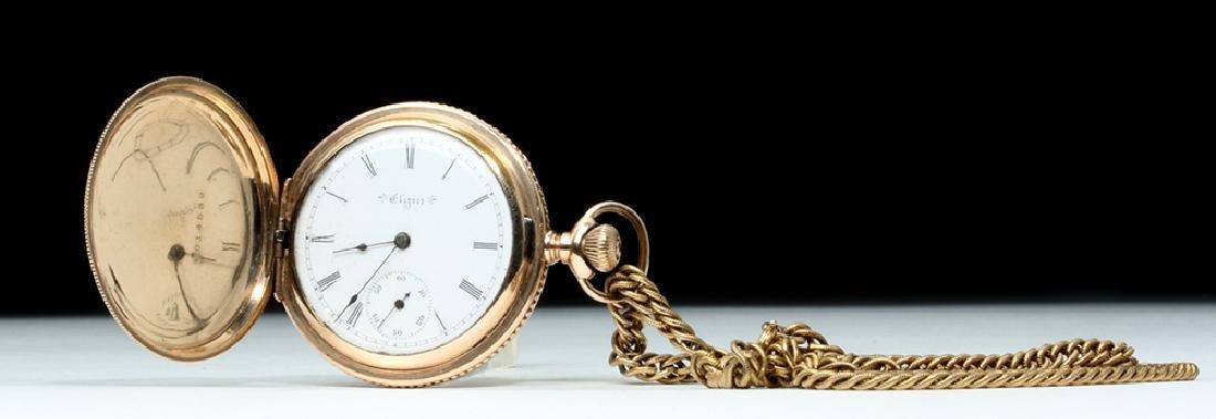 19th C. USA Elgin 10K Gold Pocket Watch w/ Fob - 3