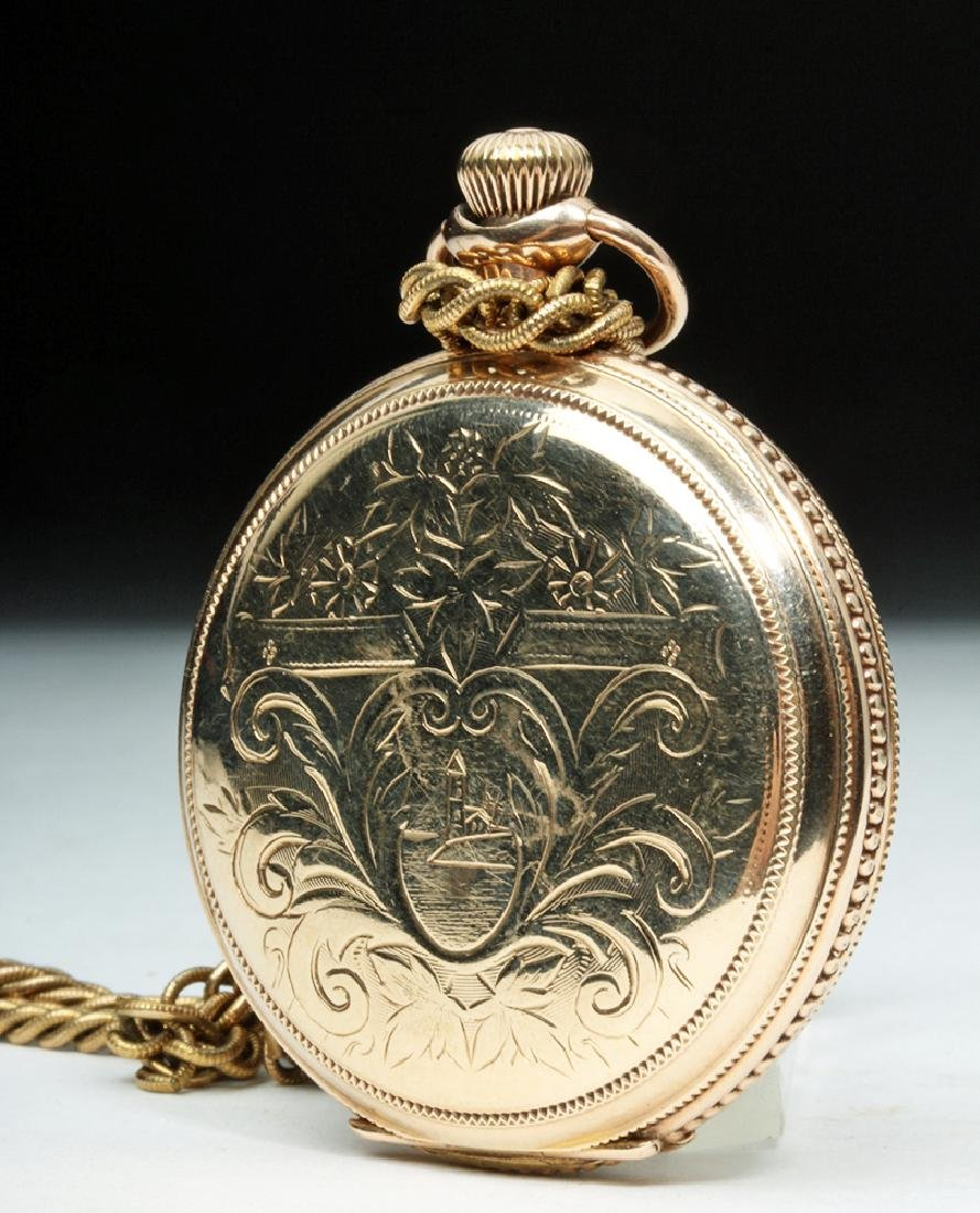 19th C. USA Elgin 10K Gold Pocket Watch w/ Fob - 7