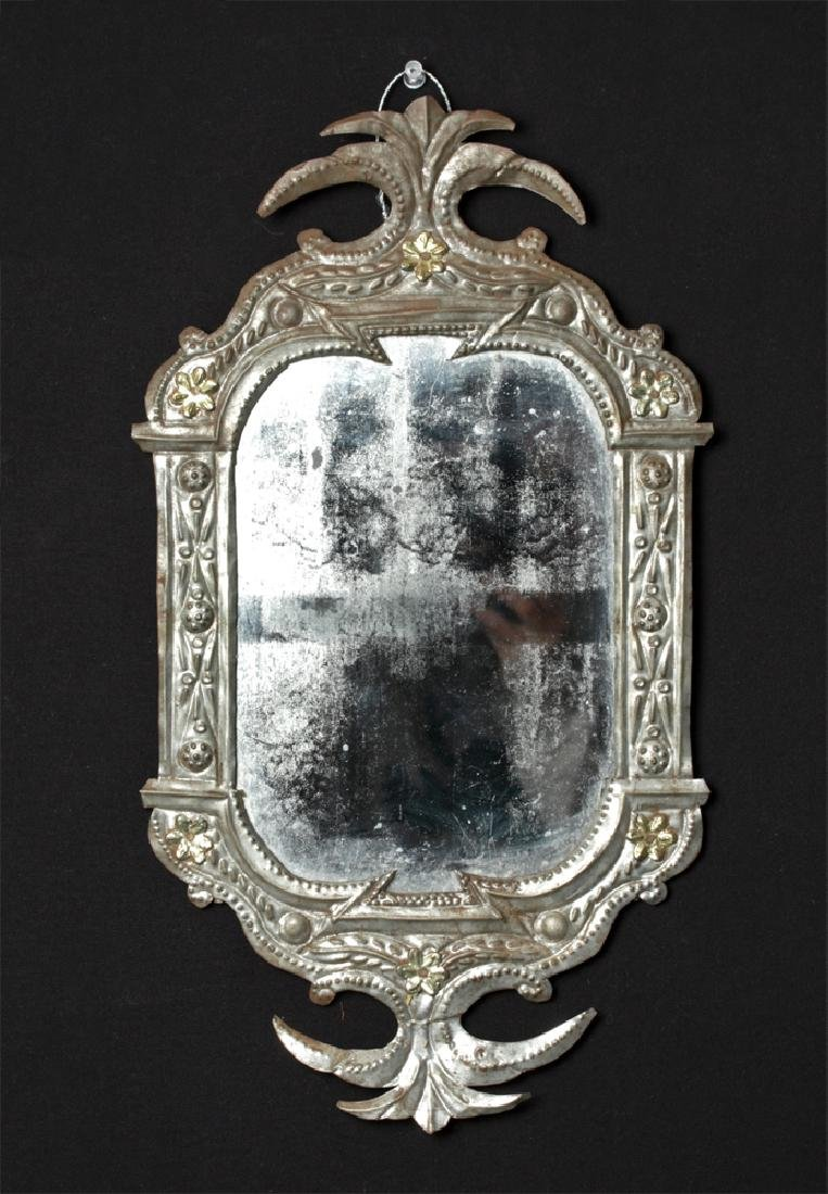 Early 20th C. Mexican Tin Framed Mirror
