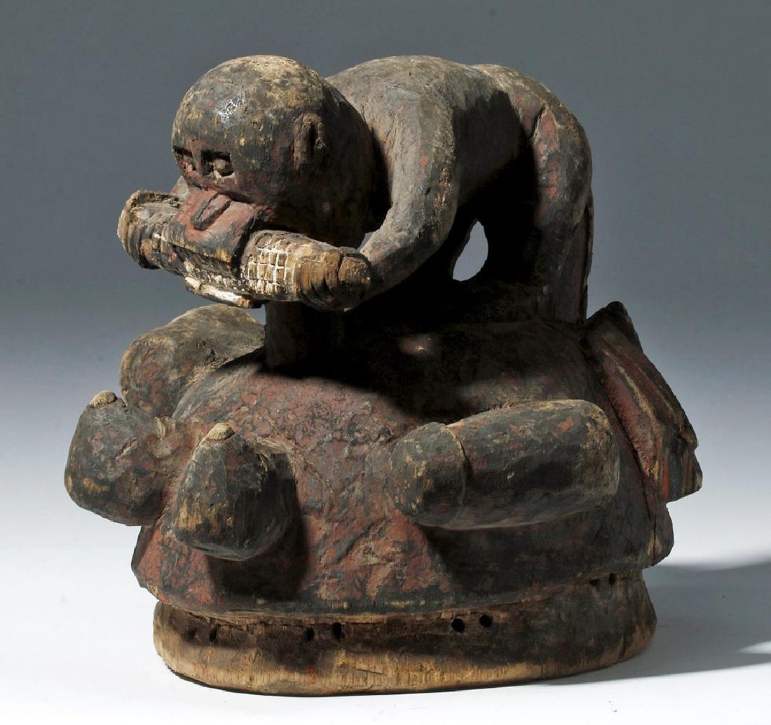 Yoruba Gelede Wooden Helmet Mask w/ Monkey