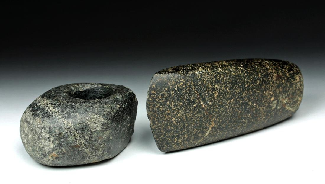 Pair Bronze Age European Stone Weapons - Mace & Axe