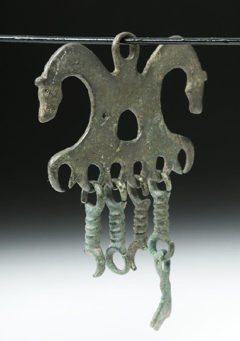 Russian / Viking Bronze Amulet with Horse Heads - 3