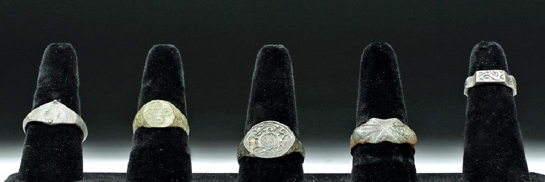 Group of 5 Viking Finger Rings (Bronze, Lead, & Silver)