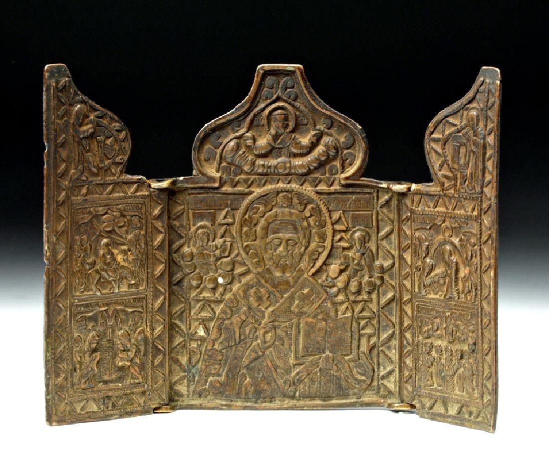 18th C. Russian Brass Traveling Icon - St. Nicholas