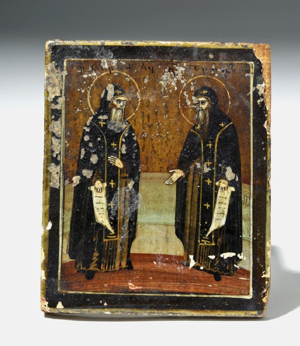 19th C. Russian Icon - Saints Tarasii and Amfilokhii