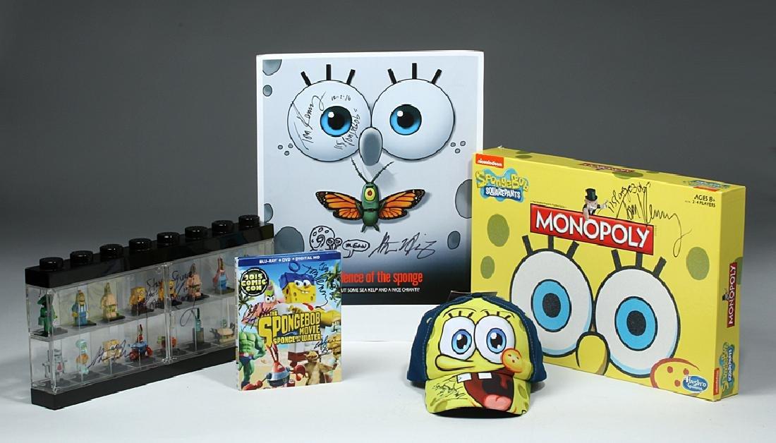 Spongebob Poster, Lego Set, Hat, & Monopoly, Signed