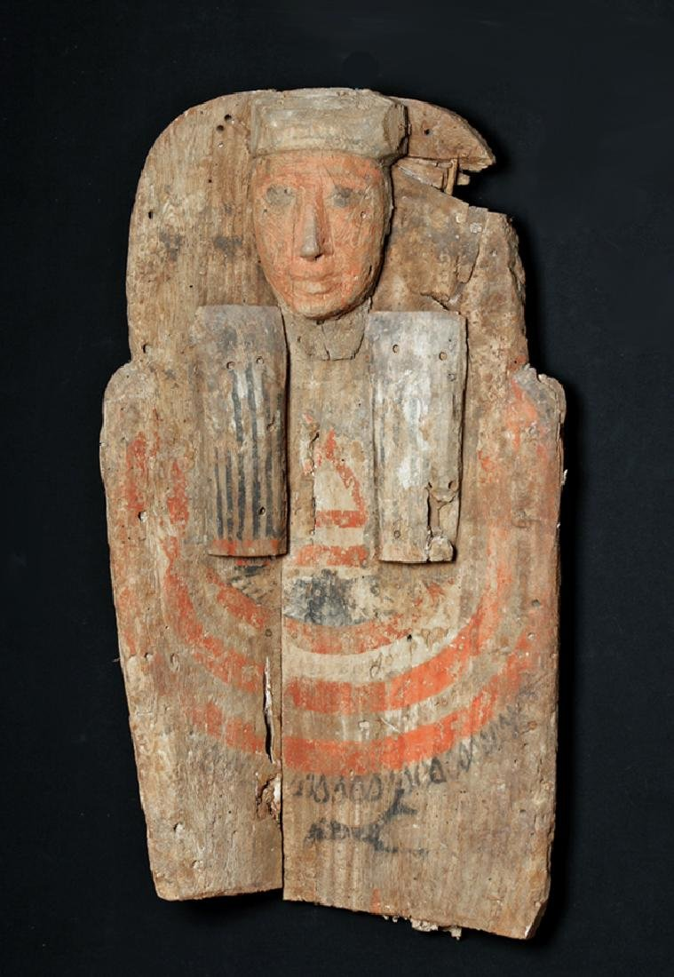 Huge Egyptian Wood Sarcophagus Bust Mummy's Coffin