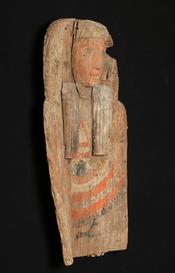 Huge Egyptian Wood Sarcophagus Bust Mummy's Coffin - 2