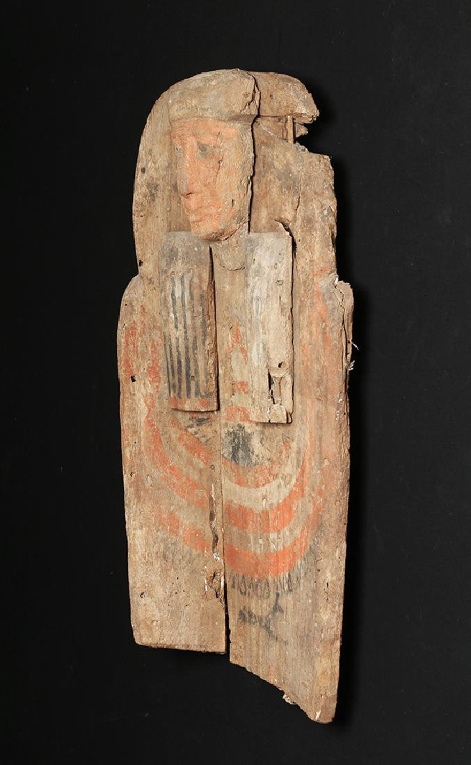 Huge Egyptian Wood Sarcophagus Bust Mummy's Coffin - 3