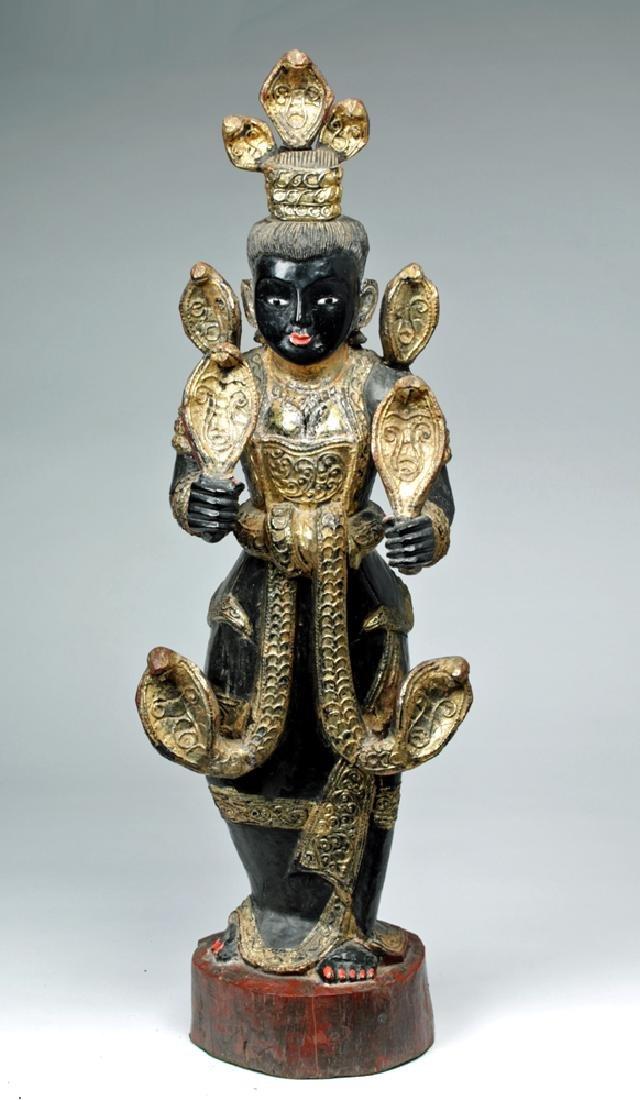 Fine 19th C. Burmese Carved Wood Nat - Shwe Nabay