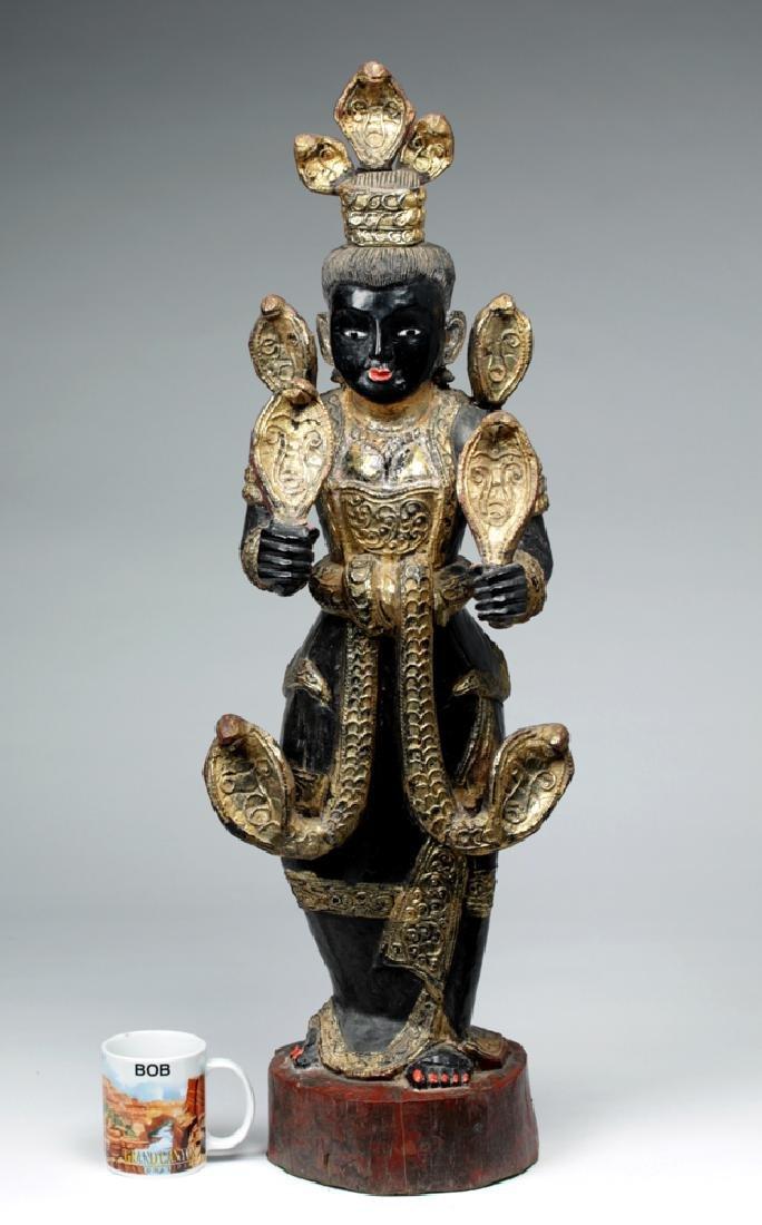 Fine 19th C. Burmese Carved Wood Nat - Shwe Nabay - 2