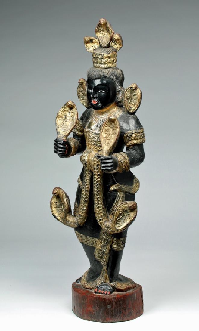 Fine 19th C. Burmese Carved Wood Nat - Shwe Nabay - 3