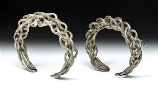 Fine Pair of Viking Silver Braided Bracelets  692 gr