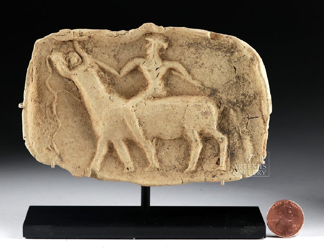 Sumerian Terracotta Plaque - Man on Bull - 2