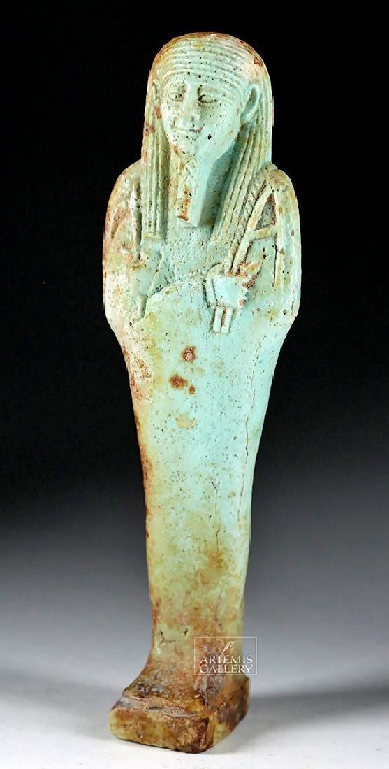 Finely Detailed Egyptian Late Dynastic Faience Ushabti