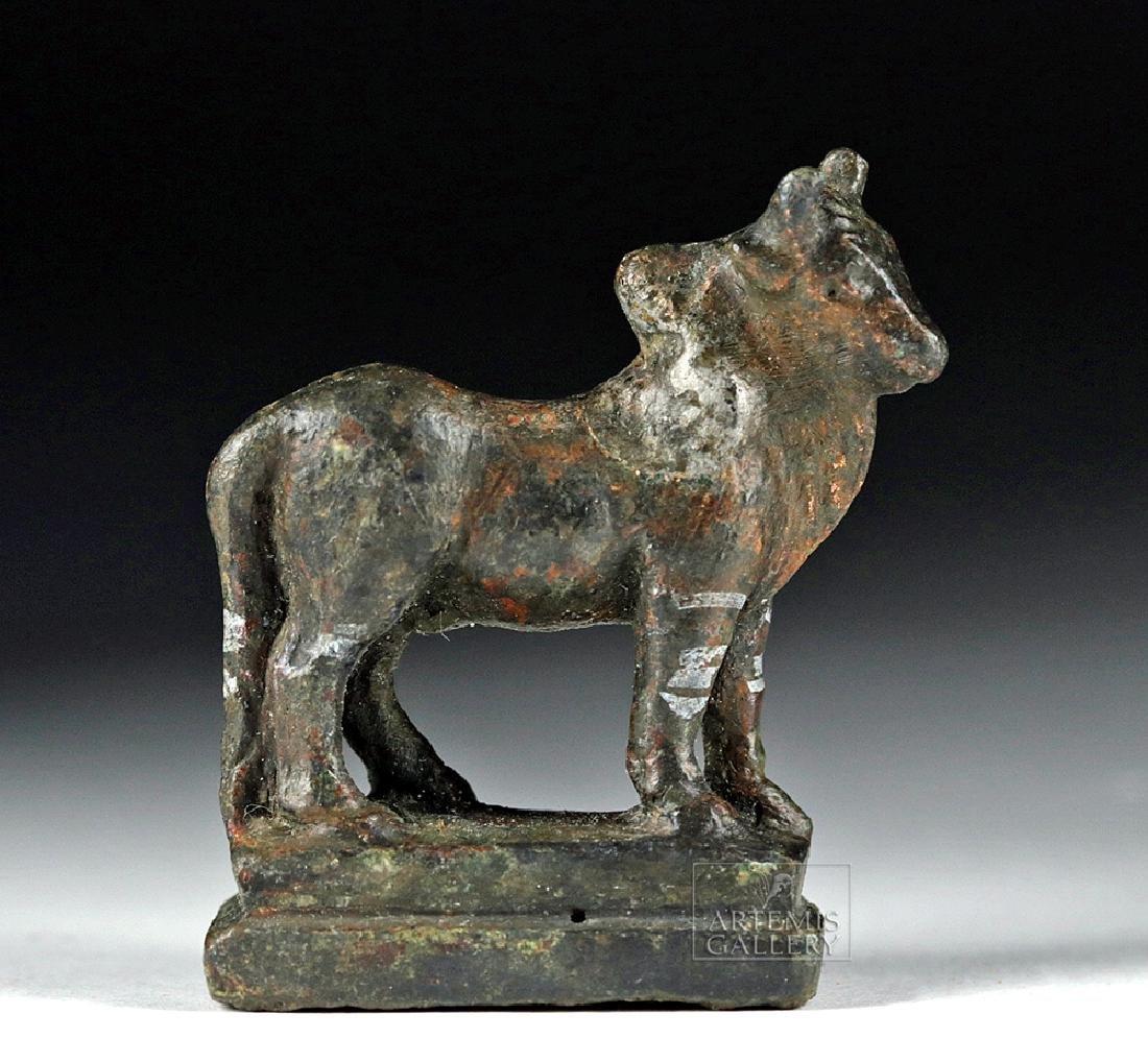 Roman Silvered Bronze Statue - Humped Bull