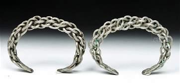Pair of Viking Silver Braided Bracelets  766 gr