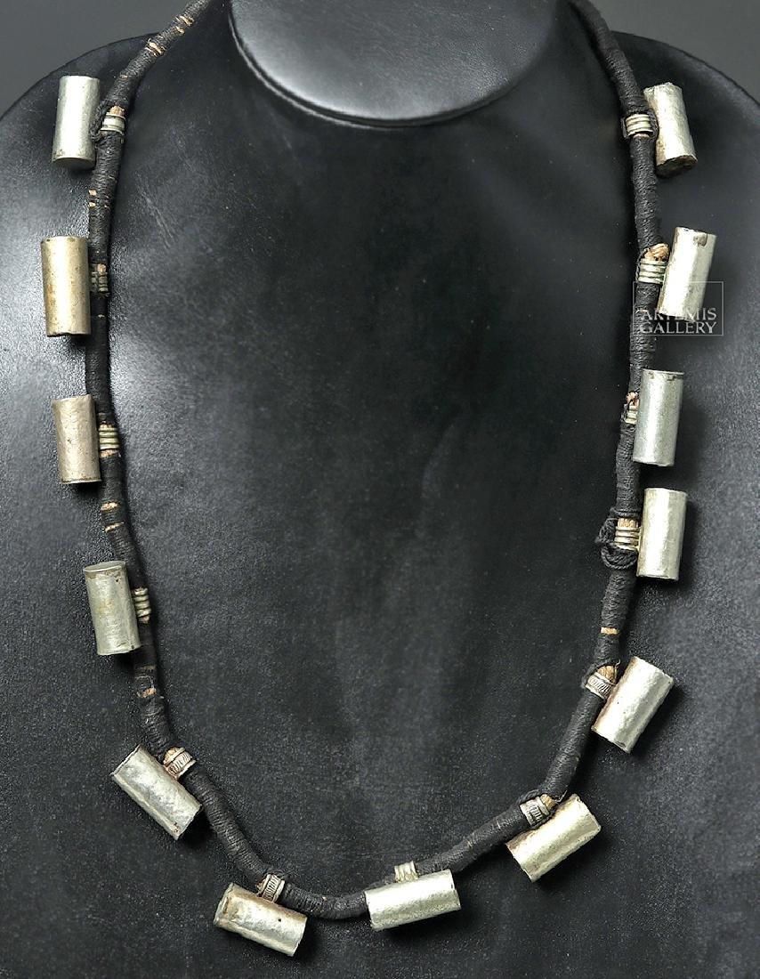 20th C. Unusual Naga Silver Barrel Necklace