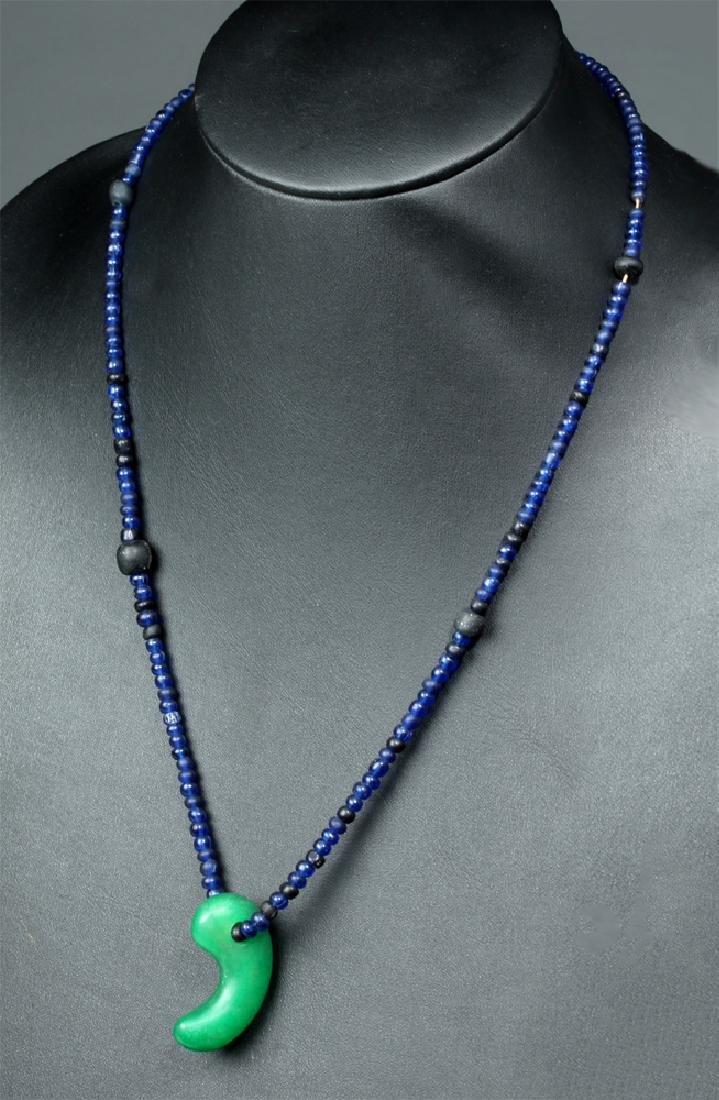 Japanese Kofun Blue Stone Necklace w/ Sacred Jewel