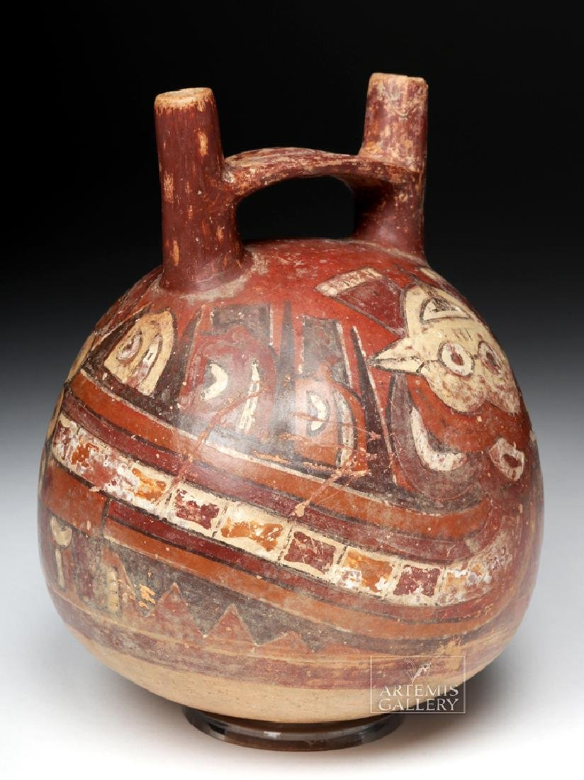 Nazca Polychrome Bridgehandle Double Spout Vessel - 3
