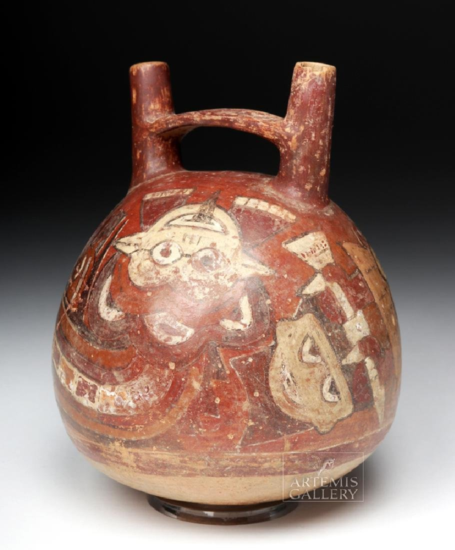 Nazca Polychrome Bridgehandle Double Spout Vessel - 4