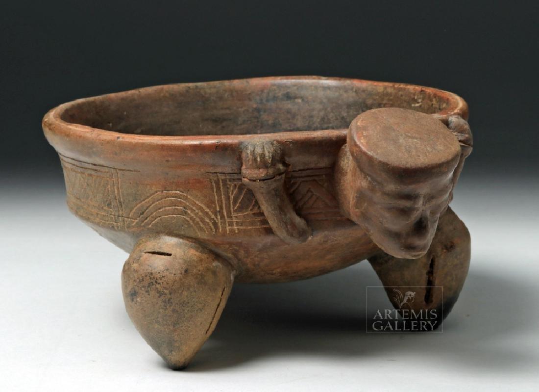 Expressive Costa Rican Pottery Tripod Rattle Bowl