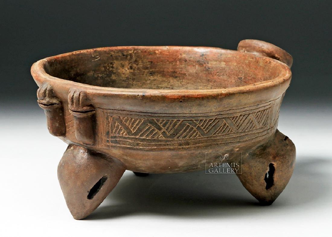 Expressive Costa Rican Pottery Tripod Rattle Bowl - 2
